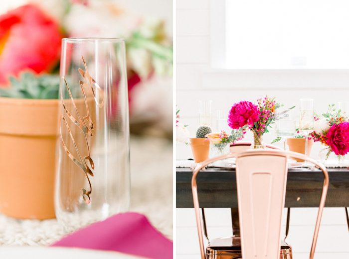 Copper Wedding Table Details: Girly Cactus Themed Bridal Shower Inspiration from Olive & Rose Events and Abbie Tyler Photography featured on Burgh Brides