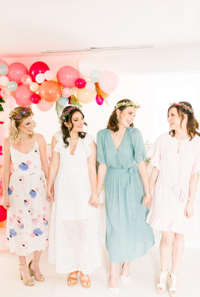 Bridesmaids Holding Hands Balloon Display: Girly Cactus Themed Bridal Shower Inspiration from Olive & Rose Events and Abbie Tyler Photography featured on Burgh Brides