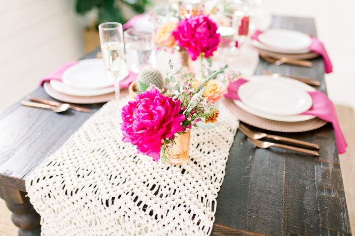 Macrame Table Runner on Wooden Table: Girly Cactus Themed Bridal Shower Inspiration from Olive & Rose Events and Abbie Tyler Photography featured on Burgh Brides