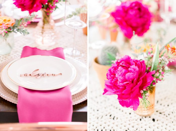 Magenta Bridal Shower Decor: Girly Cactus Themed Bridal Shower Inspiration from Olive & Rose Events and Abbie Tyler Photography featured on Burgh Brides