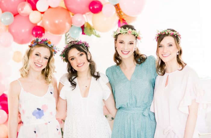 Bridesmaids in Flower Crowns Balloon Display: Girly Cactus Themed Bridal Shower Inspiration from Olive & Rose Events and Abbie Tyler Photography featured on Burgh Brides
