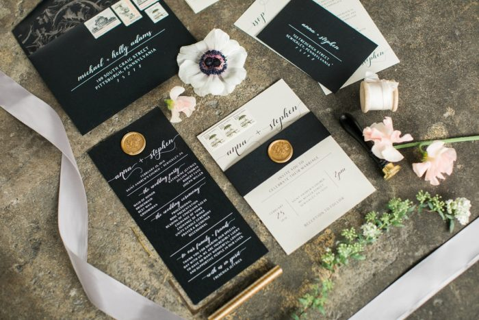 Black Wedding Stationery with White Calligraphy and Gold Wax Seals: Romantic Edgy Wedding Inspiration from Poppy Events & Steven Dray Images featured on Burgh Brides