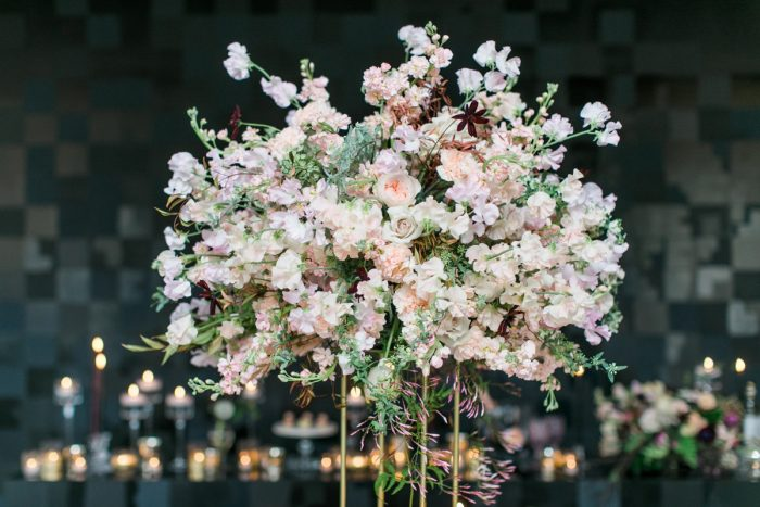 Elevated Pink and White Floral Arrangement on Gold Stand: Romantic Edgy Wedding Inspiration from Poppy Events & Steven Dray Images featured on Burgh Brides