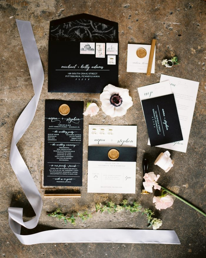 Black and white wedding stationer gold wax seal: Romantic Edgy Wedding Inspiration from Poppy Events & Steven Dray Images featured on Burgh Brides