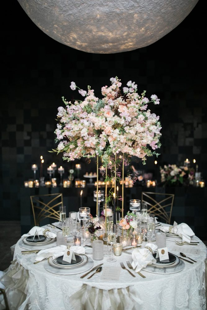 Wedding table with candlelight and gold chairs: Romantic Edgy Wedding Inspiration from Poppy Events & Steven Dray Images featured on Burgh Brides