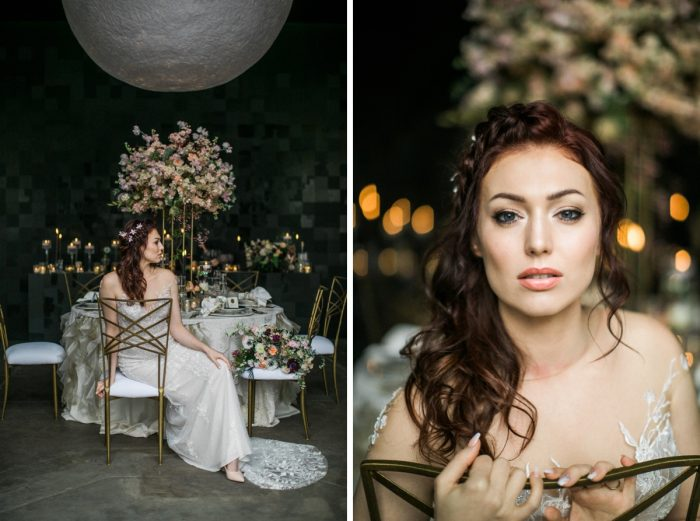 Bride in wedding dress sitting in gold chair: Romantic Edgy Wedding Inspiration from Poppy Events & Steven Dray Images featured on Burgh Brides