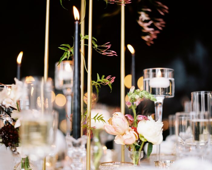 Black taper candles on wedding table: Romantic Edgy Wedding Inspiration from Poppy Events & Steven Dray Images featured on Burgh Brides