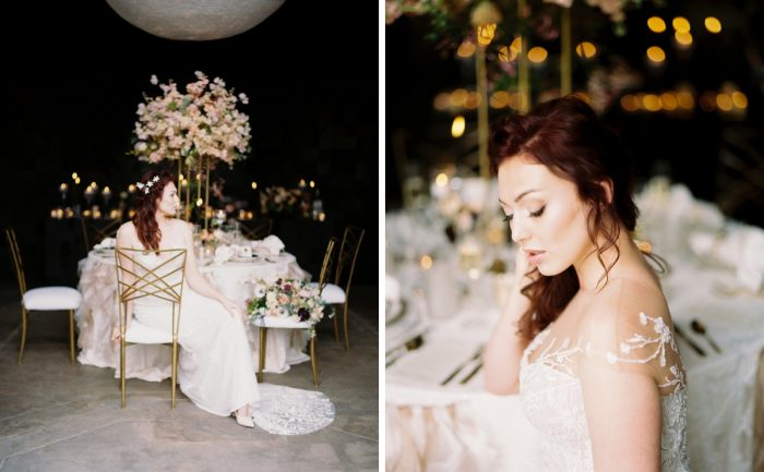 Bride sitting in gold chair at wedding table: Romantic Edgy Wedding Inspiration from Poppy Events & Steven Dray Images featured on Burgh Brides
