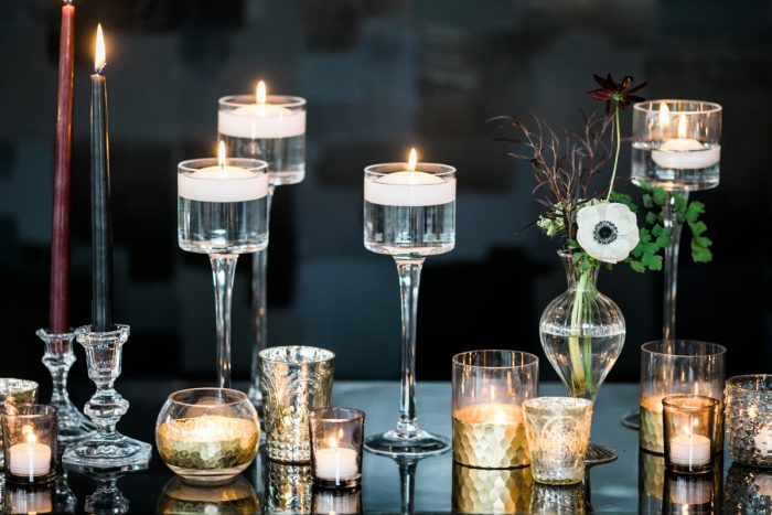 Floating candles mercury glass vases: Romantic Edgy Wedding Inspiration from Poppy Events & Steven Dray Images featured on Burgh Brides