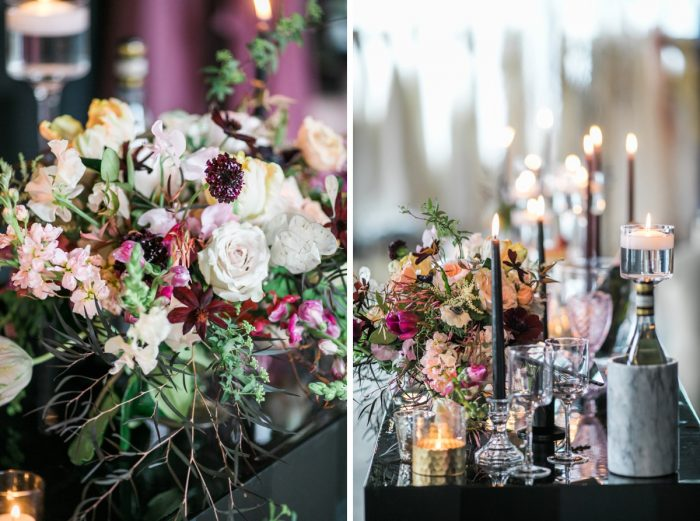 Wedding table with taper candles and pink and white flowers: Romantic Edgy Wedding Inspiration from Poppy Events & Steven Dray Images featured on Burgh Brides