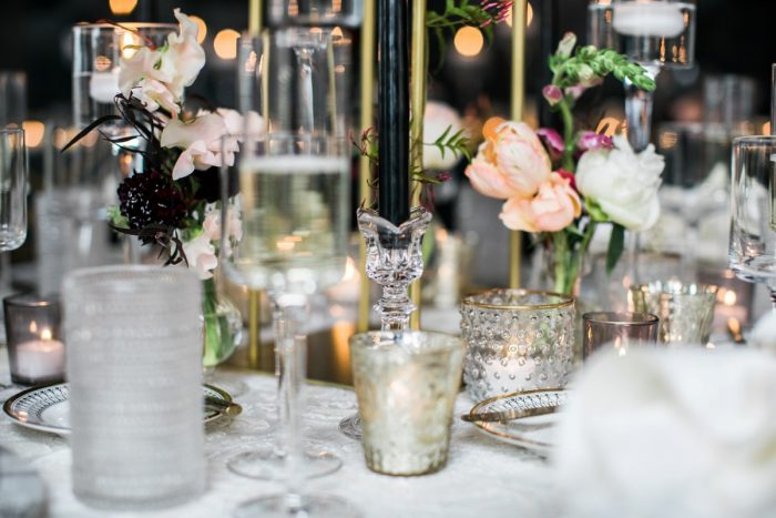 Mercury glass candle vases at wedding: Romantic Edgy Wedding Inspiration from Poppy Events & Steven Dray Images featured on Burgh Brides