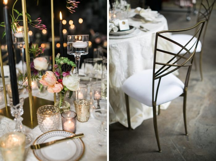 Gold and white chair place setting wedding: Romantic Edgy Wedding Inspiration from Poppy Events & Steven Dray Images featured on Burgh Brides