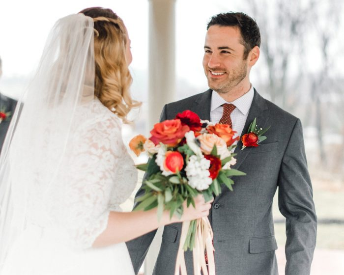 Bride Groom First Look: Whimsical Greenhouse Wedding at Quality Gardens from Dawn Derbyshire Photography featured on Burgh Brides