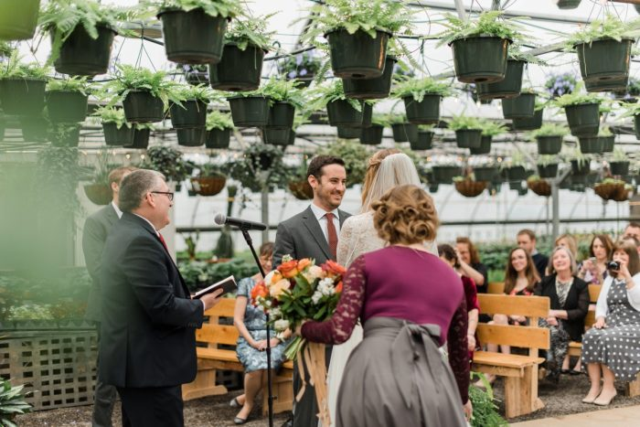 Wedding Ceremony Greenhouse: Whimsical Greenhouse Wedding at Quality Gardens from Dawn Derbyshire Photography featured on Burgh Brides