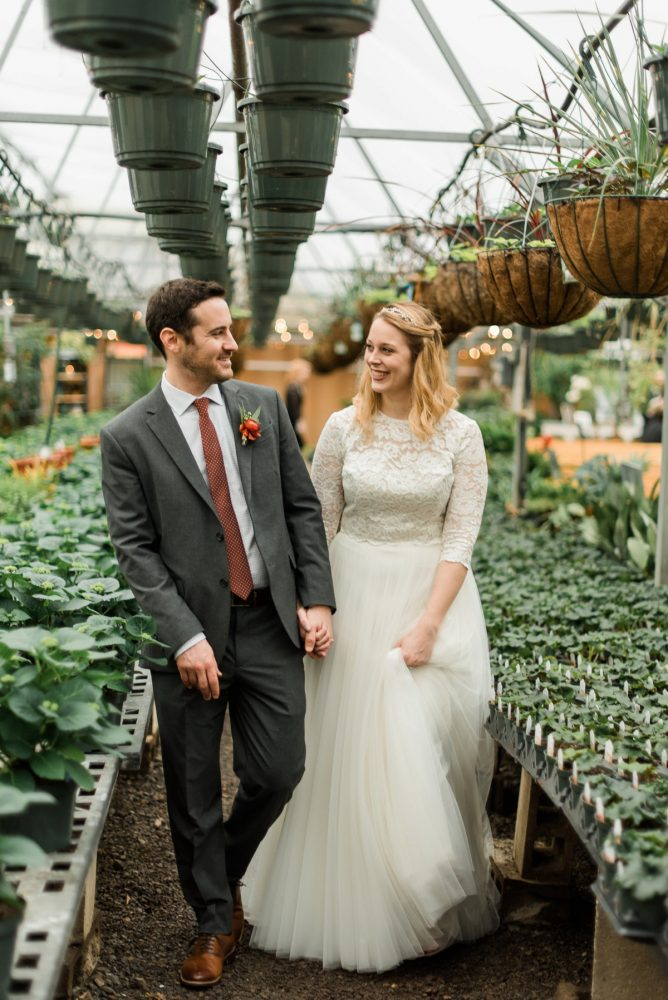 Bride Groom Wedding Portraits Greenhouse: Whimsical Greenhouse Wedding at Quality Gardens from Dawn Derbyshire Photography featured on Burgh Brides