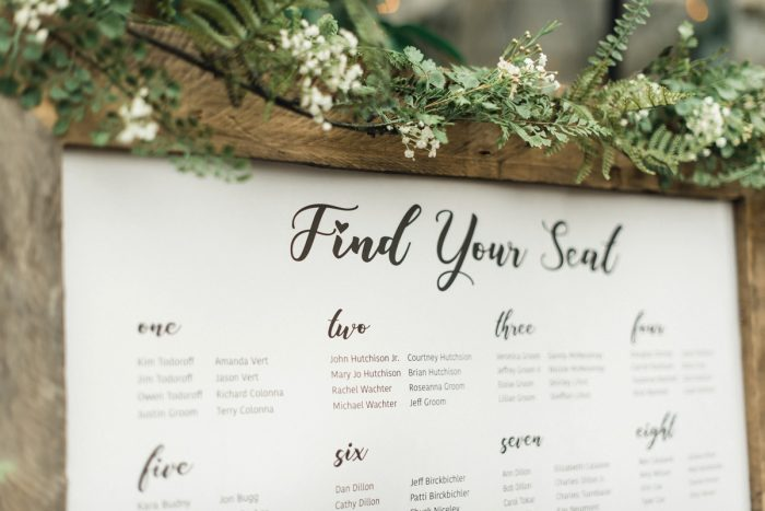 Wooden Seating Chart Display: Whimsical Greenhouse Wedding at Quality Gardens from Dawn Derbyshire Photography featured on Burgh Brides