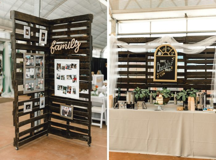 Pallet Wedding Decor Family Photo Display: Whimsical Greenhouse Wedding at Quality Gardens from Dawn Derbyshire Photography featured on Burgh Brides