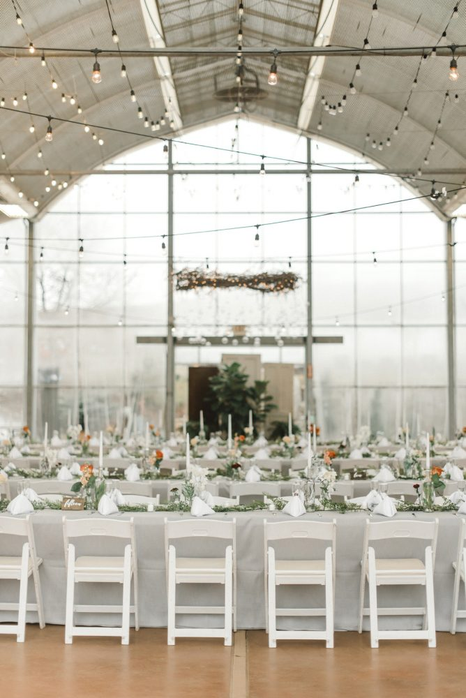 Greenhouse Wedding Decor Hanging Floral Chandeliers: Whimsical Greenhouse Wedding at Quality Gardens from Dawn Derbyshire Photography featured on Burgh Brides