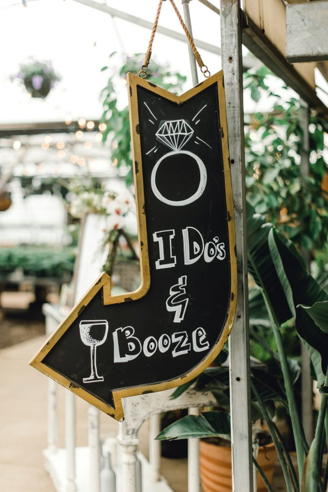 Chalkboard Wedding Bar Sign: Whimsical Greenhouse Wedding at Quality Gardens from Dawn Derbyshire Photography featured on Burgh Brides