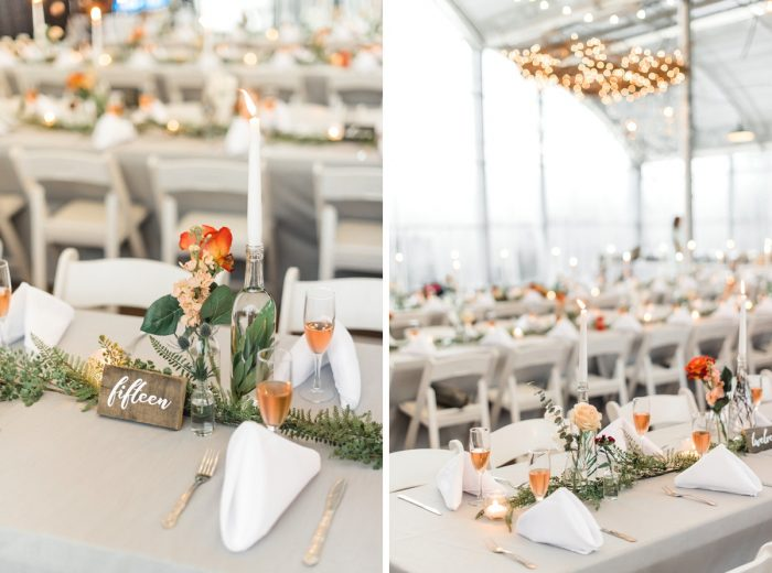 Greenery Table Runners Orange Roses: Whimsical Greenhouse Wedding at Quality Gardens from Dawn Derbyshire Photography featured on Burgh Brides