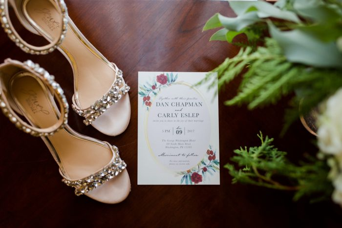 Floral Print Wedding Invitations: Magical Christmas Wedding at the George Washington Hotel from Weddings by Alisa featured on Burgh Brides