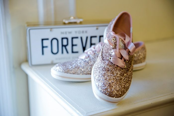 Rose Gold Glitter Wedding Sneakers: v