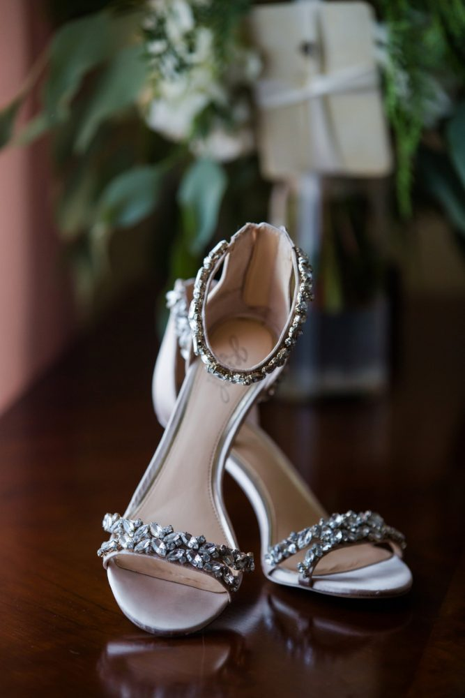 Beaded Bridal Peep Toe Heels: Magical Christmas Wedding at the George Washington Hotel from Weddings by Alisa featured on Burgh Brides
