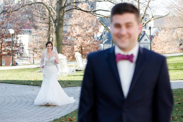 Bride and Groom First Look: Magical Christmas Wedding at the George Washington Hotel from Weddings by Alisa featured on Burgh Brides