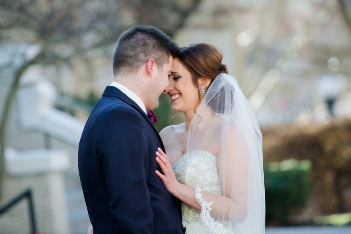 Bride in Lace Edge Veil: Magical Christmas Wedding at the George Washington Hotel from Weddings by Alisa featured on Burgh Brides