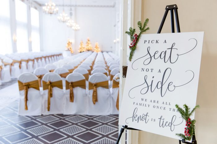 Wedding Ceremony Sign: Magical Christmas Wedding at the George Washington Hotel from Weddings by Alisa featured on Burgh Brides