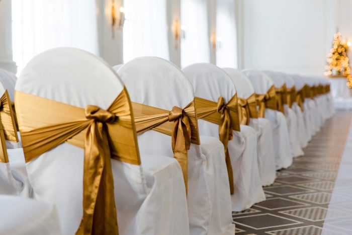 Gold Chair Sashes: Magical Christmas Wedding at the George Washington Hotel from Weddings by Alisa featured on Burgh Brides