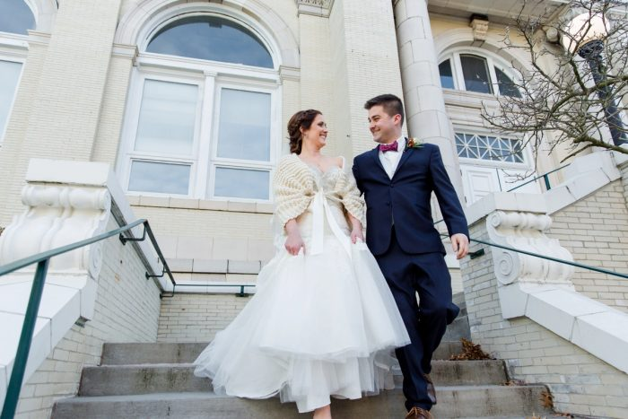 Winter Bride in Crochet Sweater: Magical Christmas Wedding at the George Washington Hotel from Weddings by Alisa featured on Burgh Brides