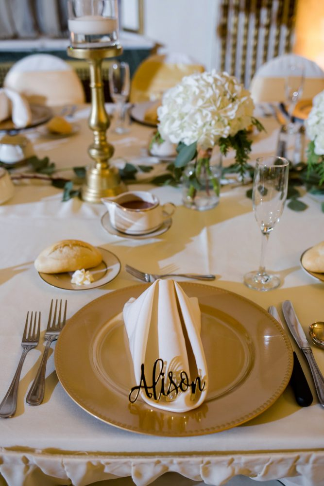 Custom Acrylic Seating Card at Wedding: Magical Christmas Wedding at the George Washington Hotel from Weddings by Alisa featured on Burgh Brides