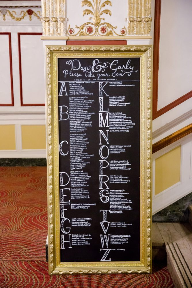 Chalkboard Wedding Seating Chart: Magical Christmas Wedding at the George Washington Hotel from Weddings by Alisa featured on Burgh Brides