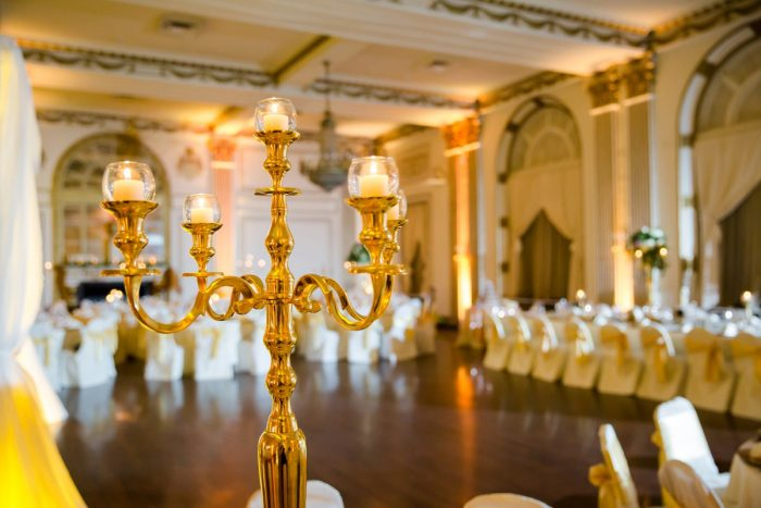 Gold Candelabras Wedding Centerpieces: Magical Christmas Wedding at the George Washington Hotel from Weddings by Alisa featured on Burgh Brides