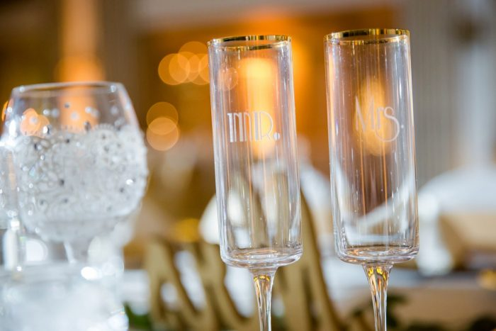 Mr & Mrs Wedding Champagne Flutes: Magical Christmas Wedding at the George Washington Hotel from Weddings by Alisa featured on Burgh Brides