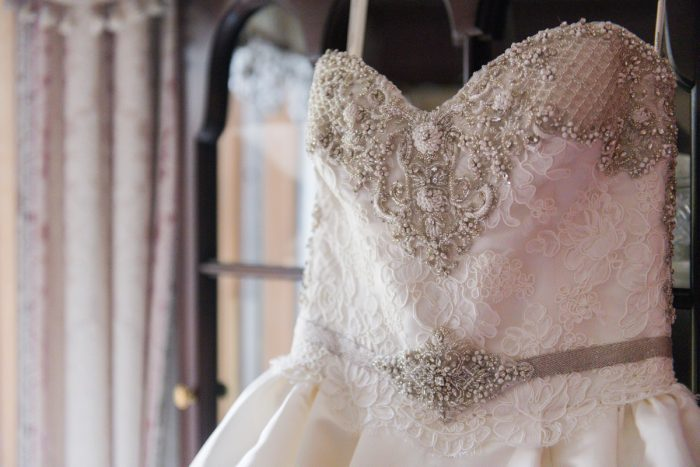 Beaded Sweetheart Neck Wedding Dress: Girly & Glamorous Wedding at Oakmont Country Club from Leeann Marie Photography featured on Burgh Brides