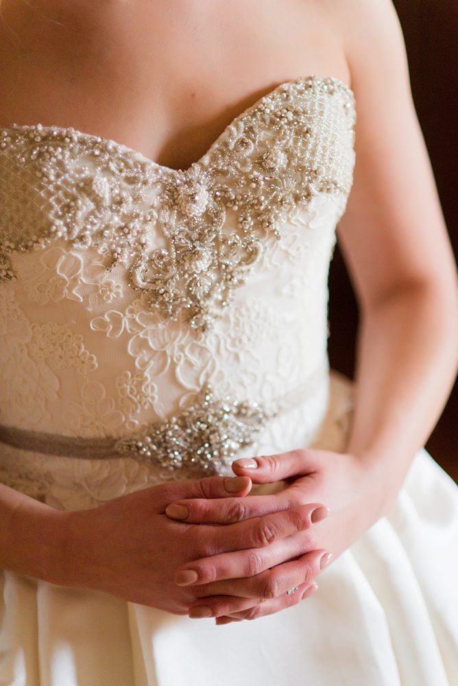 Beaded Lace Sweetheart Neck Wedding Dress: Girly & Glamorous Wedding at Oakmont Country Club from Leeann Marie Photography featured on Burgh Brides