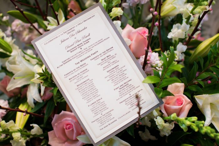 Silver Wedding Ceremony Programs: Girly & Glamorous Wedding at Oakmont Country Club from Leeann Marie Photography featured on Burgh Brides