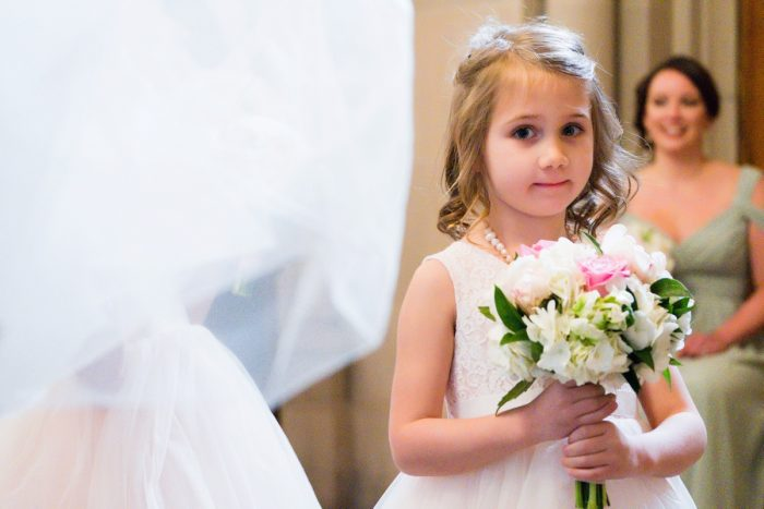 Flower Girl at Wedding Ceremony: Girly & Glamorous Wedding at Oakmont Country Club from Leeann Marie Photography featured on Burgh Brides