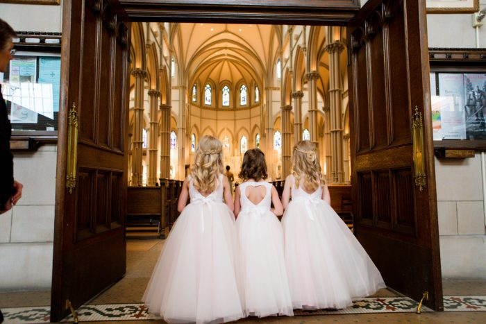 Flower Girls at Wedding Ceremony: Girly & Glamorous Wedding at Oakmont Country Club from Leeann Marie Photography featured on Burgh Brides