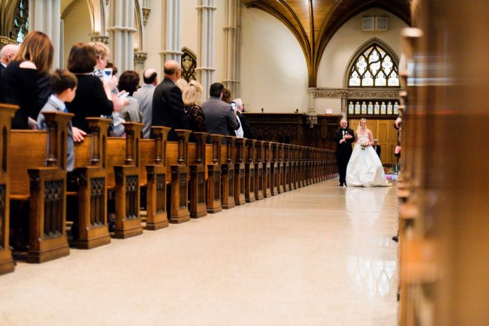Dad Walking Bride Down Aisle: Girly & Glamorous Wedding at Oakmont Country Club from Leeann Marie Photography featured on Burgh Brides