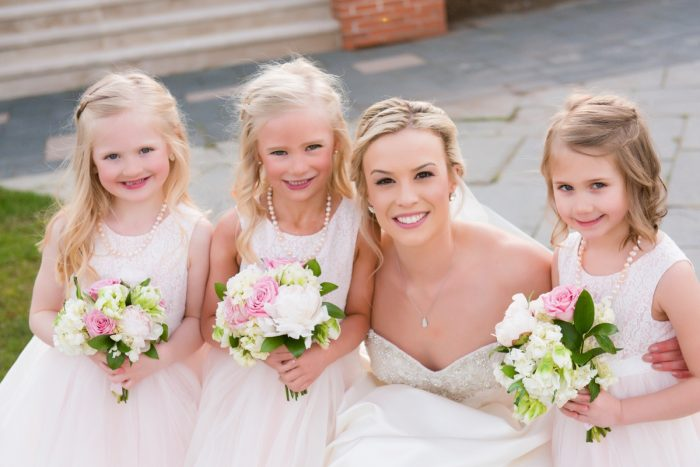 Bride with Flower Girls: Girly & Glamorous Wedding at Oakmont Country Club from Leeann Marie Photography featured on Burgh Brides