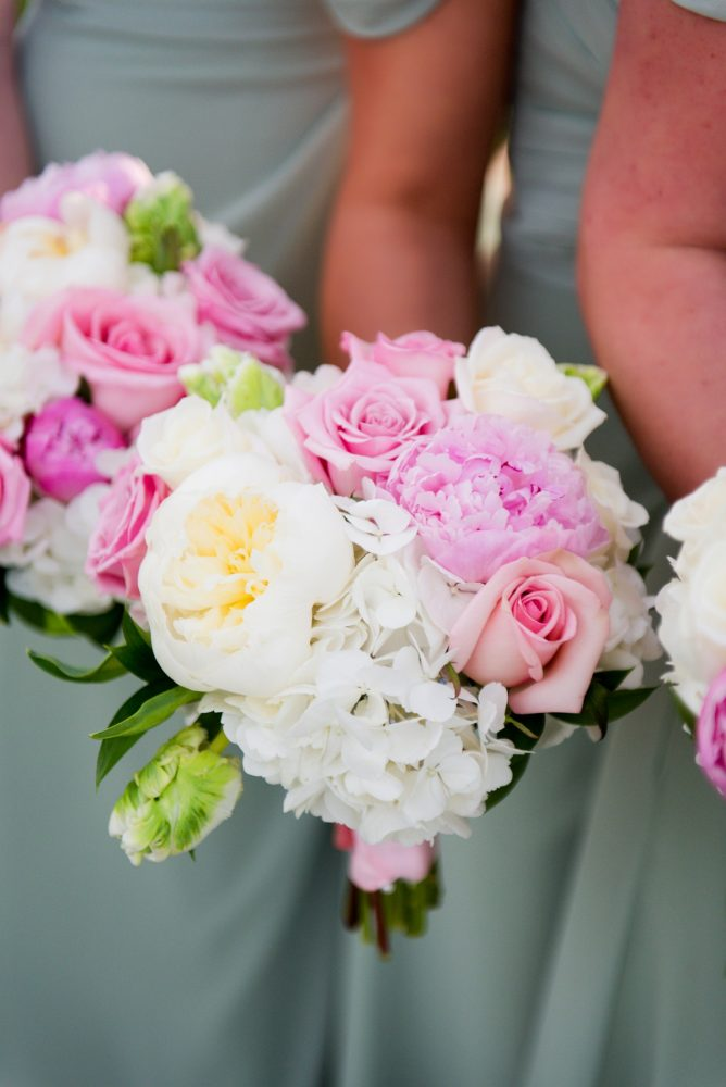 Pink and White Peony Bouquet: Girly & Glamorous Wedding at Oakmont Country Club from Leeann Marie Photography featured on Burgh Brides