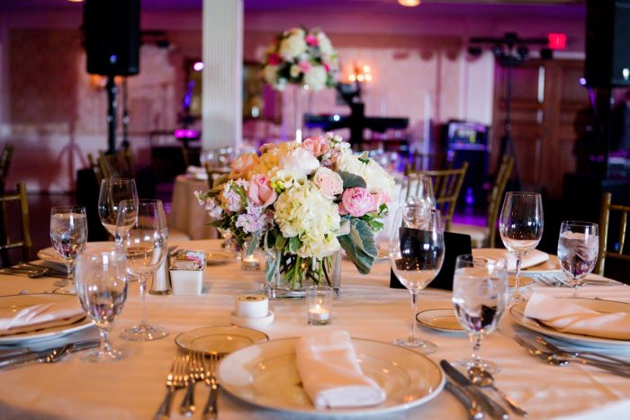 Pink Uplighting at Wedding Reception: Girly & Glamorous Wedding at Oakmont Country Club from Leeann Marie Photography featured on Burgh Brides