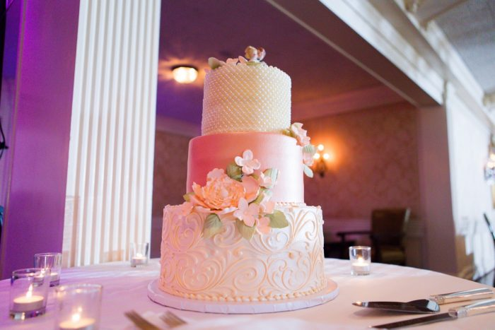 Metallic Pink and White Wedding Cake: Girly & Glamorous Wedding at Oakmont Country Club from Leeann Marie Photography featured on Burgh Brides