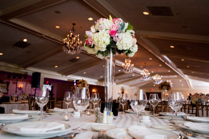 Elevated Pink and White Wedding Centerpieces: Girly & Glamorous Wedding at Oakmont Country Club from Leeann Marie Photography featured on Burgh Brides