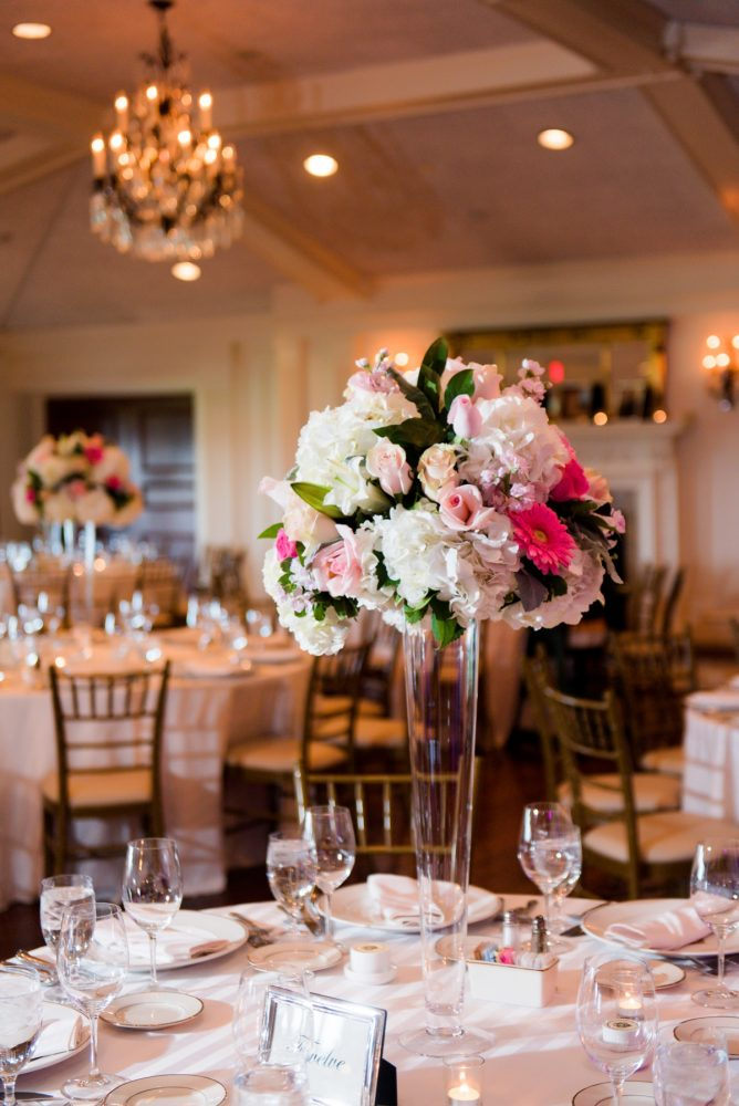 Pink and White Wedding Centerpieces: Girly & Glamorous Wedding at Oakmont Country Club from Leeann Marie Photography featured on Burgh Brides