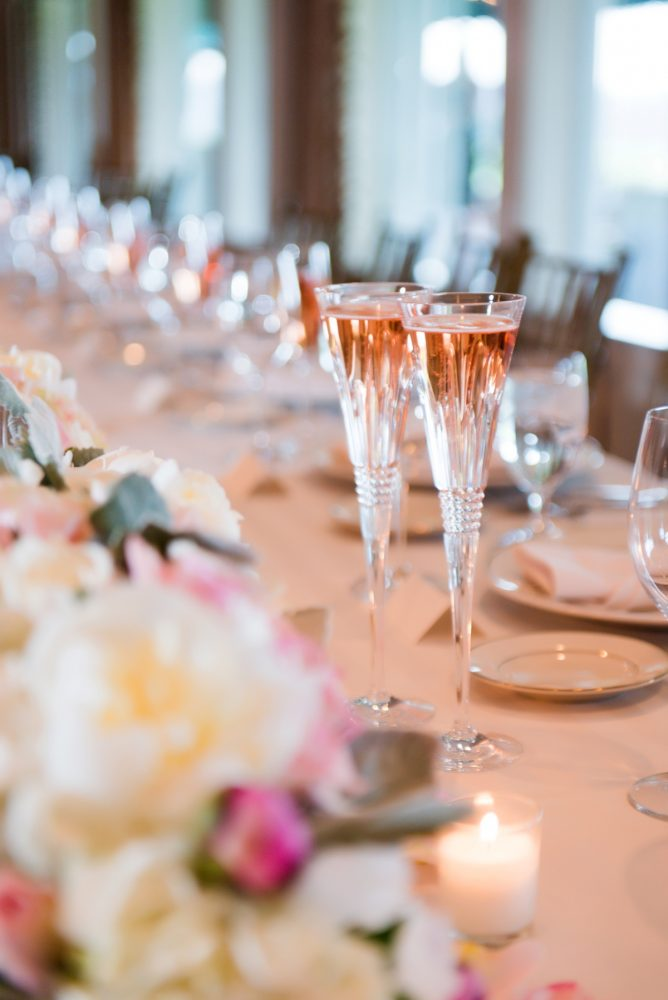 Crystal Champagne Flutes at Wedding: Girly & Glamorous Wedding at Oakmont Country Club from Leeann Marie Photography featured on Burgh Brides
