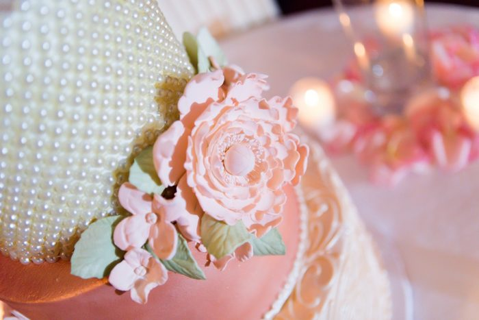 Metallic Pink and White Wedding Cake: v